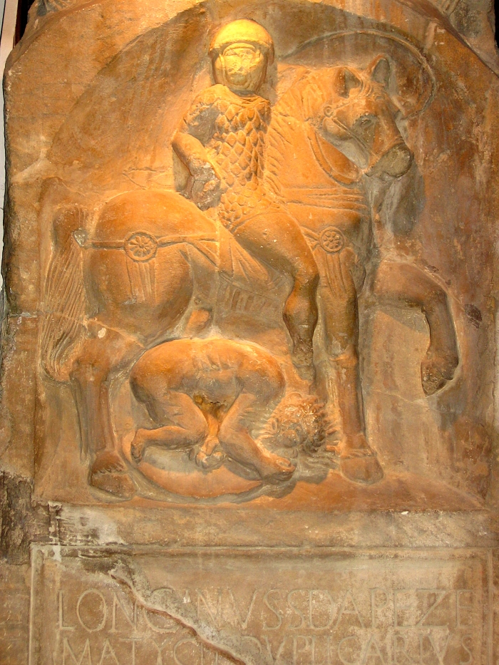 Tombstone of Longinus Sdapeze, a junior cavalry officer of the First Cavalry Regiment of Thracians.