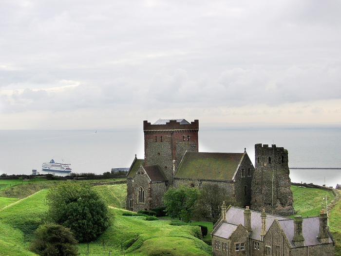English Channel and Roman Lighthouse beside Church in Dover