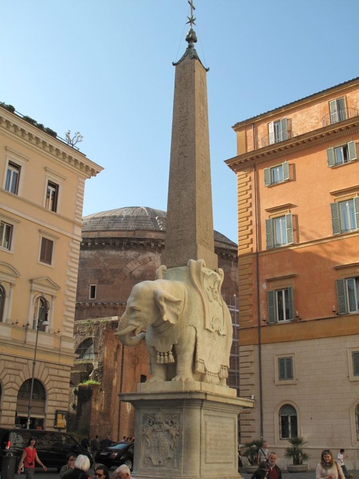 Bernini's Elephant beneath Egyptian Obelisk