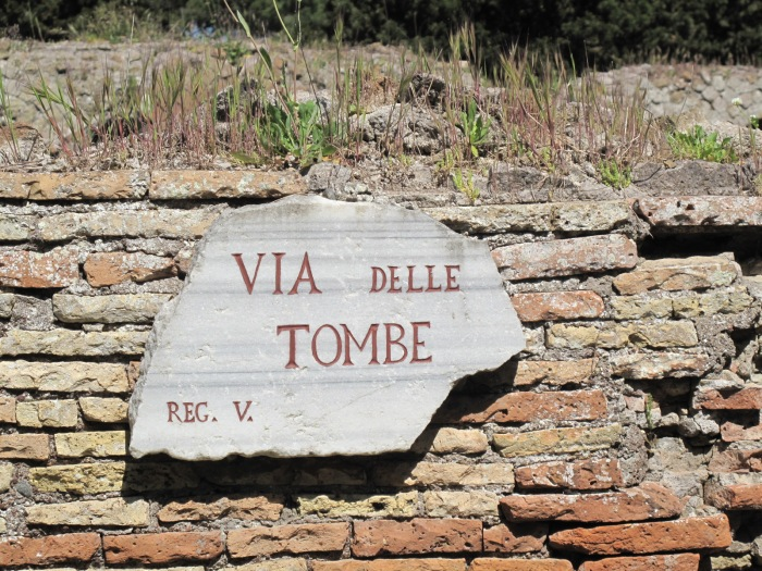 Graves line the road into the town. Romans did not allow any burials within the town limits.